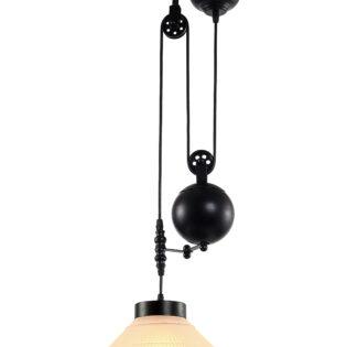 Φωτιστικό οροφής ενός λαμπτήρα με βαρίδια και γυάλινο καπέλο