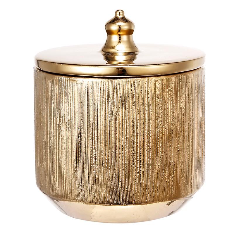 """Δοχείο χρυσό διακοσμητικό με καπάκι """"Halloway"""""""