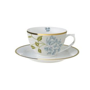 Laura Ashley- Heritage Cobblestone Pinstripe Φλυτζάνι Cuppuccino με πιατάκι