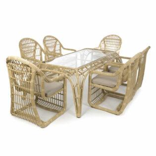 Καρέκλες και τραπέζι ρατάν εξωτερικού χώρου Σετ/7