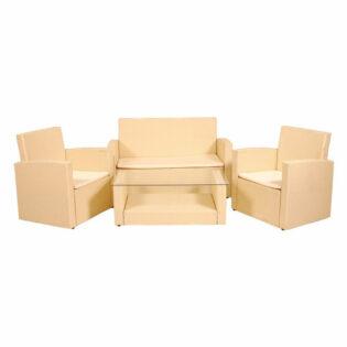 Σαλόνι κήπου λευκό με δύο πολυθρόνες,διθέσιο καναπέ και τραπέζι Σετ/4