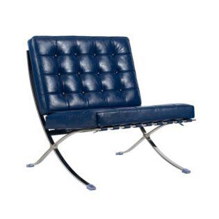 Πολυθρόνα δερμάτινη με μεταλλικό πόδι