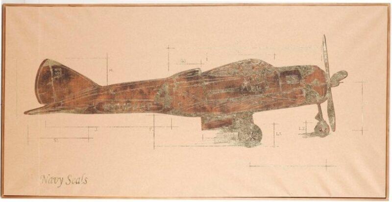 """Πίνακας """"Αεροπλάνο"""" σε χαρτί με ξύλινο πλαίσιο"""