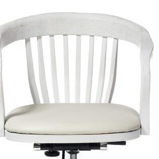 Καρέκλα γραφείου ξύλινη περιστρεφόμενη δερμάτινο κάθισμα λευκή πατίνα