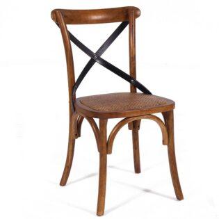 Καρέκλα ξύλινη με μαύρο Χ πλάτη κάθισμα RATAN CW006