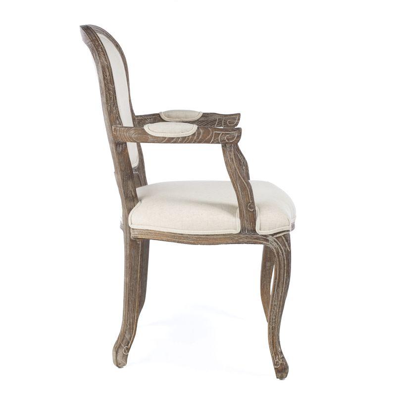 Πολυθρόνα ξύλινη  με εκρού ύφασμα