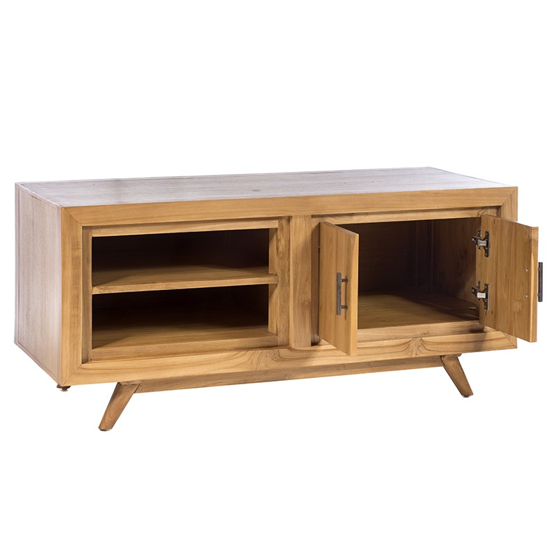 Έπιπλο τηλεόρασης με ντουλάπι και ράφια σε φυσικό