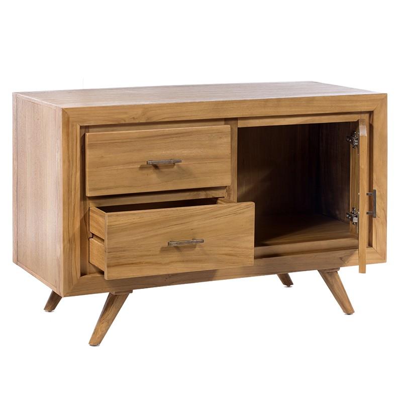 Έπιπλο τηλεόρασης με 2 συρτάρια και ντουλάπι σε φυσικό