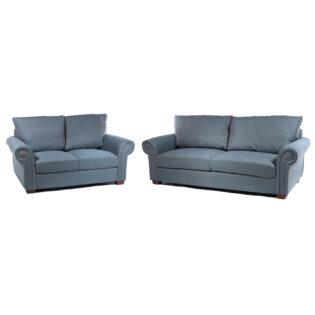 Καναπές διθέσιος με μπλέ ύφασμα