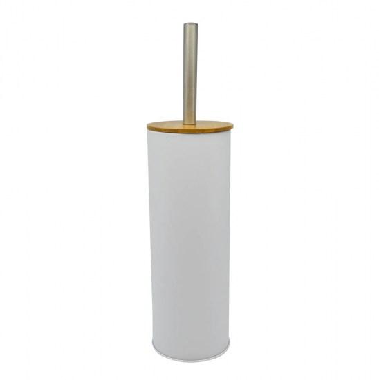 Πιγκάλ βουρτσάκι inox άσπρο με bamboo καπάκι 10x38.5cm