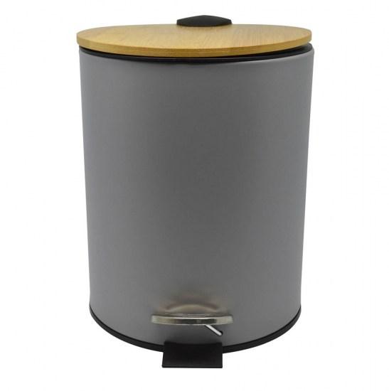 Καλάθι μπάνιου 5lt inox γκρι με bamboo καπάκι