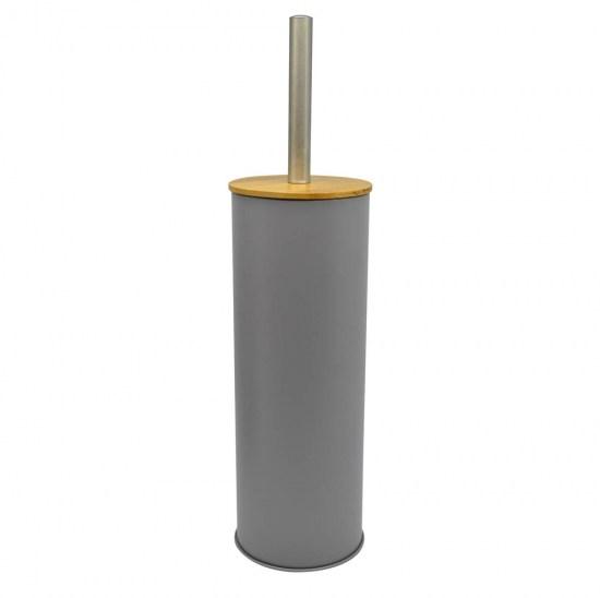 Πιγκάλ βουρτσάκι inox γκρι με bamboo καπάκι 10x38.5cm