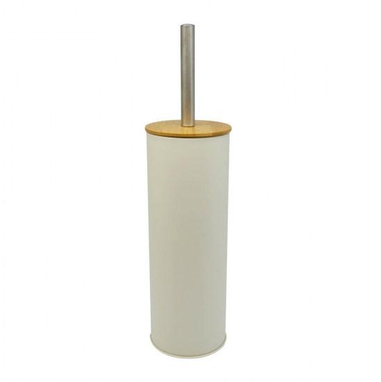 Πιγκάλ βουρτσάκι inox μπεζ με bamboo καπάκι 10x38.5cm
