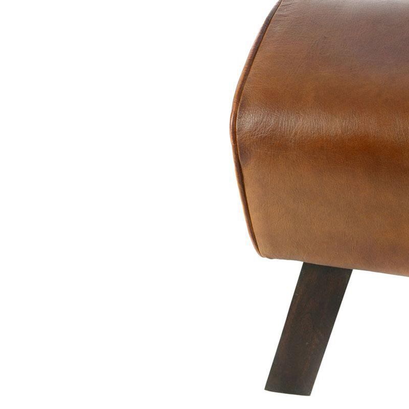 Σκαμπώ ξύλινο με δέρμα