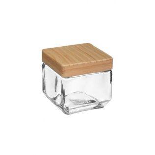 Δοχείο γυάλινο με ξύλινο καπάκι 0.85lt 11Χ11Χ10.5cm