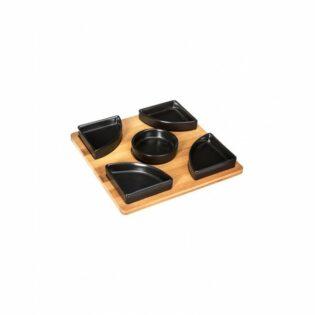 Σετ ντιπ ξύλινη βάση x6 μπωλ
