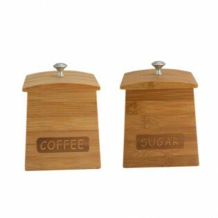Σετ βάζα ζάχαρη καφέ Bamboo